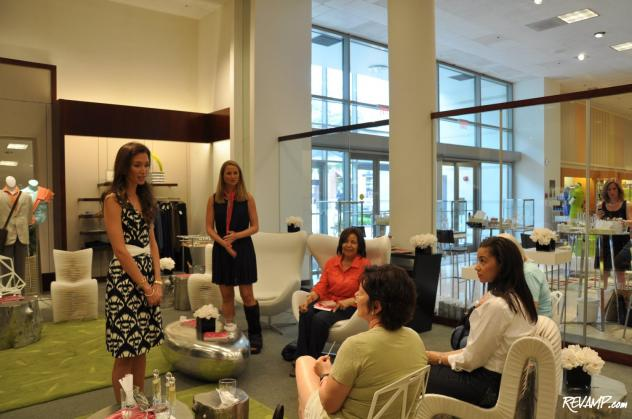 (Standing L-R) Olivia and Alex Chantecaille talk with Neiman Marcus customers.