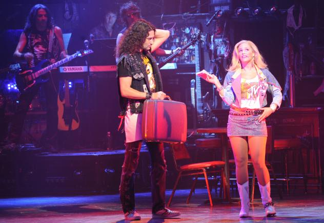 Constantine Maroulis and Elicia MacKenzie steal a scene together in 'Rock Of Ages'.