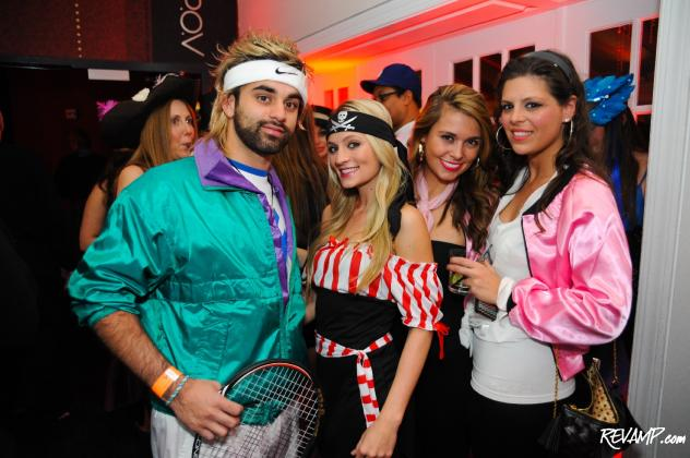 Yousuf Hanif (far left) won the night's costume competition with his portrayal of Andre Agassi.