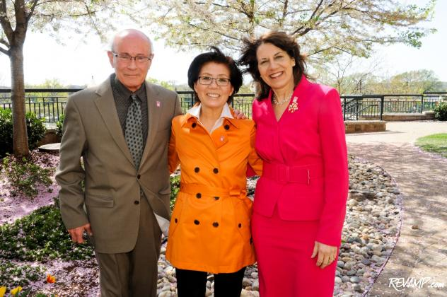 Fujiko Hara (center), the granddaughter of the Tokyo mayor who first gifted 3,020 cherry blossom trees to Washington, D.C. in 1912, honored the centennial anniversary of the occasion by planting a few new trees herself.