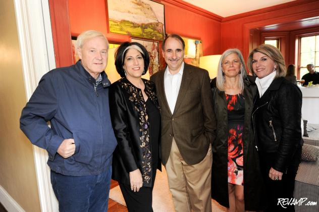 Chris Matthews, Tammy Haddad, David Axelrod, Susan Axelrod, and Kathleen Matthews at the entrance to the Garden Brunch's VIP room.