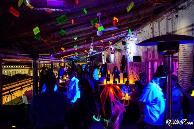 Glowing cassette tapes (remember those?) were strung from the canopy of P.O.V's prized terrace in keeping with the '80s theme of the night.