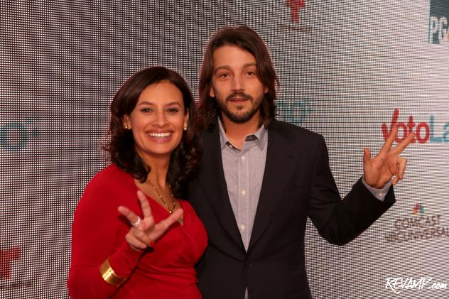 Voto Latino CEO & President Maria Teresa Kumar and 'Cesar Chavez' film director Diego Luna (Photo: Zach Wood / REVAMP.com).