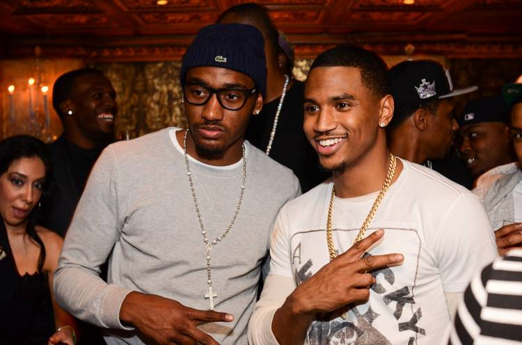 Washington Wizard point guard John Wall and R amp B star Trey Songz inside    John Wall Girlfriend 2012